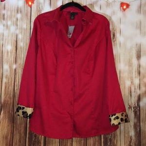 Lane Bryant Plus Size 16 Red Animal Print Blouse